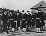 Admiral Forrest P. Sherman inspects honour guard at Heidelberg in March 1950.jpg