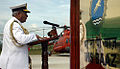 Admiral Nirmal Verma addressing dignitaries after commissioning of INS Baaz.JPG