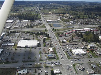 Washington State Route 531 - Aerial view of the I-5 interchange in Smokey Point, rebuilt in stages between 2004 and 2011