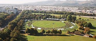 Hagley Oval - Aerial view of Hagley Oval, North is the Botanic Gardens end, East is the historic Umpires' Pavilion side, South is the Port Hills end and West is the Christ's College cricket ground end.