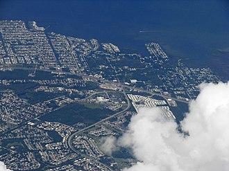 Hudson, Florida - Aerial view of Hudson and Hudson Beach, Florida