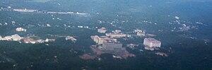 Kazhakoottam - Aerial View of the Kazhakoottam area with the Technopark Phase I campus (1998)