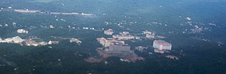 Kazhakoottam - Aerial View of the Kazhakoottam area with the Technopark Phase I campus (1998)