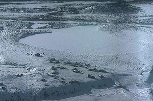 Arctic Village, Alaska - Aerial view of Arctic Village in wintertime.