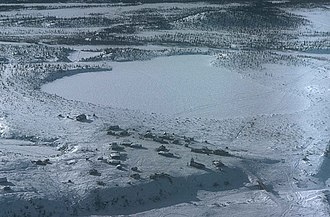 Arctic Village, Alaska - Aerial view of Arctic Village in wintertime.