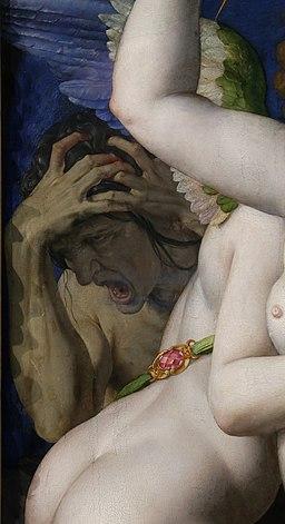 Agnolo bronzino, allegoria di venere e amore, 1545 ca. 05 disperazione