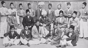 Ahmadiyya in Indonesia - Ahmadi students and converts from the Dutch East Indies in the presence of the Caliph Mirza Basheer-ud-Din Mahmood Ahmad