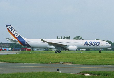 The A330 first prototype. It was rolled out on 14 October 1992, and first flew on 2 November. Airbus Industrie Airbus A330-300; F-WWKA, June 1993 (8075230330).jpg