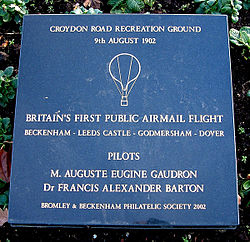 Airmail balloon flight plaque