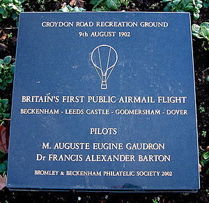 Croydon Road Recreation Ground - Airmail Balloon Flight plaque