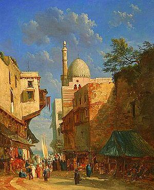 Alexandre Defaux - The Bazaar, 1856, oil on canvas laid on board.
