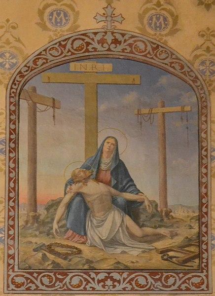 Peinture à l'huile sur toile marouflée réalisée par Alexis Douce de la Salle et représentant la Vierge au pied de la Croix, située dans la chapelle de la Vierge de l'église de Leyment (Ain)