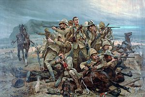 British cavalry during the First World War - A painting of the 17th (The Duke of Cambridge's Own) Lancers at the Battle of Moddersfontein, 1901