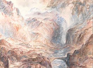 Alpine Landscape with Figures and Bridge
