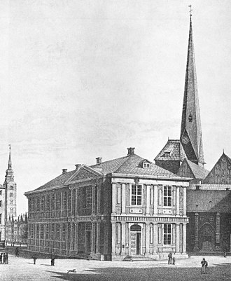 Bremen Exchange - The Old Exchange (Alte Börse) with the Church of Our Lady (at right) and St. Ansgarii's (at left in the background) in 1822