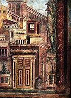 Altrömische Wandmalerei in der Villa of P. Fannius Synistor, Wandmalerei-Detail nach Bühnenmanie, Boscoreale, Campaia