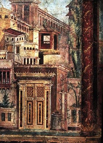 Altr%C3%B6mische Wandmalerei in der Villa of P. Fannius Synistor, Wandmalerei-Detail nach B%C3%BChnenmanie, Boscoreale, Campaia