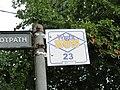 Alverstone Old School bus stop flag in July 2011.JPG