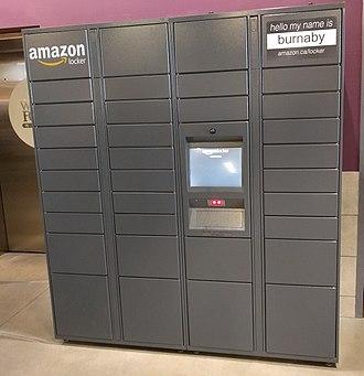 Amazon Locker - An Amazon.ca Locker kiosk inside of a Whole Foods Market location in Burnaby.