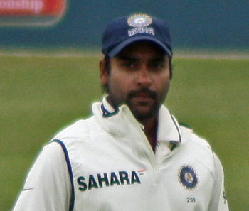 English: Amit Mishra in the field during India...