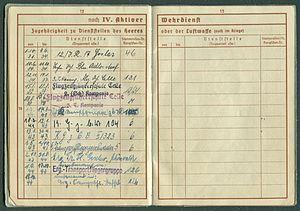 Amtsdokument Paul Fischer 1937 Leutnant Wehrpass Luftwaffe Seite 14 15 Zugehörigkeit zu Dienststellen des Heeres oder der Luftwaffe auch im Kriege.jpg