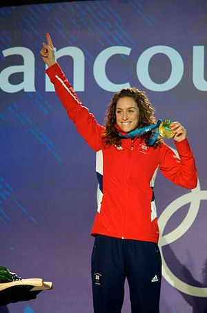 Amy Williams - Williams receiving her gold medal at the 2010 Winter Olympics in Vancouver