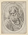 An apostle with a long beard looking down at an open book, in an oval frame, from Christ, the Virgin, and Thirteen Apostles MET DP837901.jpg