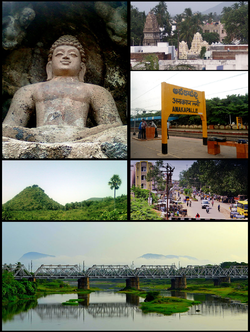 Anakapalle Montage  Clockwise from Top Left: Rock-cut Buddha Statue at Bojjannakonda, View of Anakaplle Town, Anakapalle railway Station, Streets of Anakapalle, Rail Bridge on Sarada River, View of Satyanarayana Konda