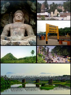 Anakapalle - Anakapalle Montage   Clockwise from Top Left: Rock-cut Buddha Statue at Bojjannakonda, View of Anakaplli Town, Anakapalli railway Station, Streets of Anakapalli, Rail Bridge on Sarada River, View of Satyanarayana Konda