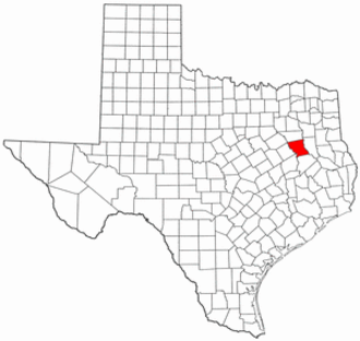 National Register of Historic Places listings in Anderson County, Texas - Location of Anderson County in Texas