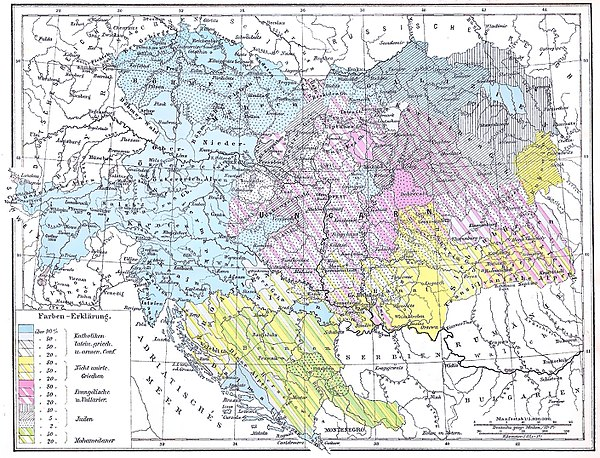 Religions in Austria-Hungary, from the 1881 edition of Andrees Allgemeiner Handatlas. Catholics (both Roman and Uniate) are blue, Protestants purple, Eastern Orthodox yellow, and Muslims green. Andree48-2.jpg