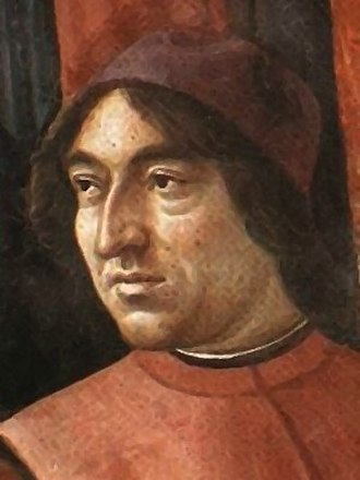 Poliziano - Angelo Poliziano from a fresco painted by Renaissance artist Domenico Ghirlandaio in the Tornabuoni Chapel, Santa Maria Novella, Florence