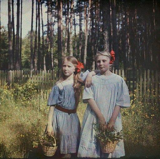 Anna Iwaszkiewicz with Maria Wysocka color photograph- Stanisław Wilhelm Lilpop