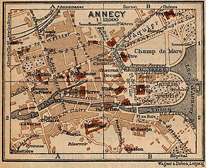 Annecy - Map of Annecy in 1914, French edition