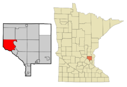 Location of the city of Ramsey within Anoka County, Minnesota