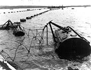 Anti-submarine net between Fort York Redoubt and McNabs Island