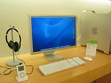 An Apple Cinema Display connected to a Power Mac G5, as seen with a 4th generation iPod Classic at an Apple Store on July 23, 2004.