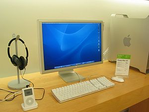 Apple Cinema Display - An Apple Cinema Display connected to a Power Mac G5, as seen with a 4th generation iPod Classic at an Apple Store on July 23, 2004.