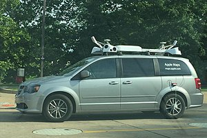 Apple Maps - An Apple Maps vehicle driving through St. Charles, Missouri in June 2015.