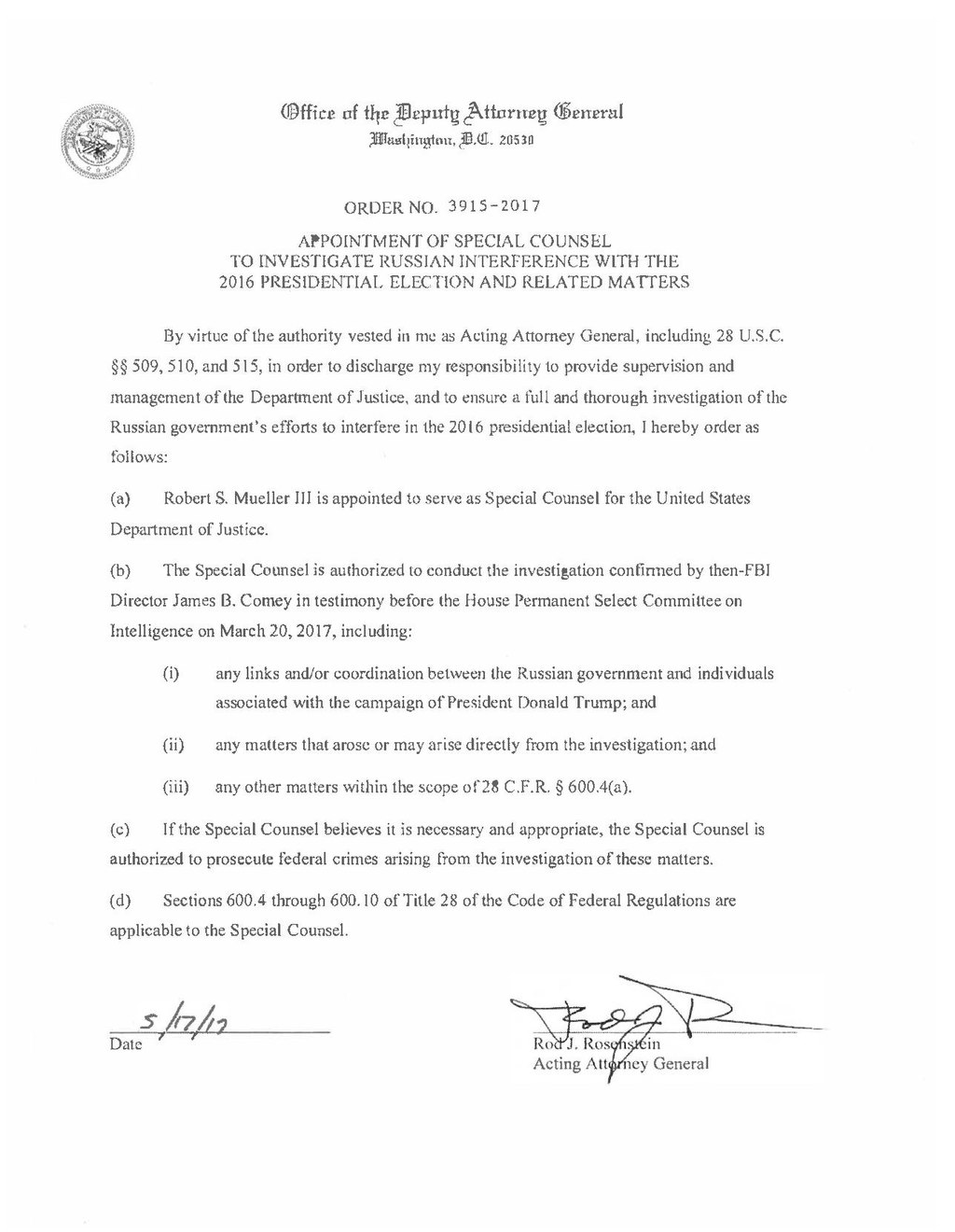 Pageappointment of special counsel to investigate russian pageappointment of special counsel to investigate russian interference with the 2016 presidential election and related matterspdf1 wikisource altavistaventures Images