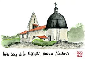 Watercolor of the church in Cachen