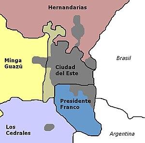 Gran Ciudad del Este - Image: Area metropolitana de ciudad del este gran cde map mapa