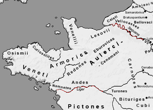 Armorica - The Roman geographical area of Armorica. The Seine and Loire are marked in red.