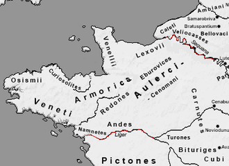 Armorica - The Roman geographical area of Armorica. The Seine and the Loire are marked in red.