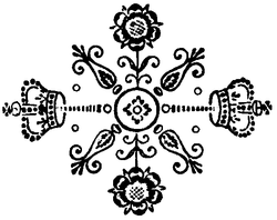 Decorative snowflake-like pattern, including crowns and flowers.