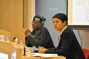 The Lion of Bourdillon - Bola Tinubu (left), a Nigerian politician and the film's subject, with Chi Onwurah (right)