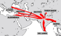 map showing diffusion of Buddhism at the time of emperor Ashoka from India