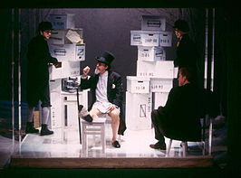 (v.l.n.r.:) Grant Varjas, Raynor Scheine, Jim Parsons en William Atherton in Fishelson's versie van Het slot in het Manhattan Ensemble Theatre, januari, 2002.