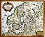 Tabula exactissima Regnorum SUECIAE og NORVEGIAE ikke annet enn MARIS UNIVERSI ORIENTALIS, Terrarumq- tilstøtende summo studio ab