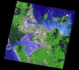 Auckland and the inner Hauraki Gulf from space.